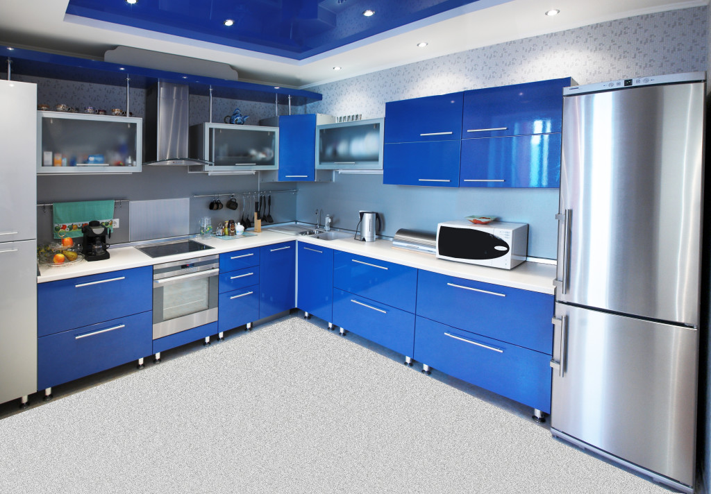 Kitchen 4: The Modern kitchen interior in blue tones